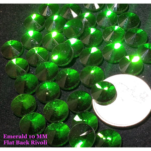 Emerald 10 MM Flat Back Rivoli