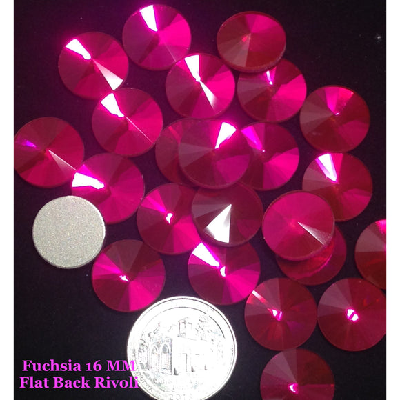 Fuchsia 16 MM Flat Back Rivoli