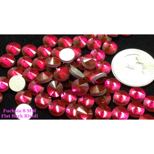 Fuchsia 8 MM Flat Back Rivoli