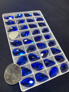 Capri Blue 11x18MM Flat Back Teardrop