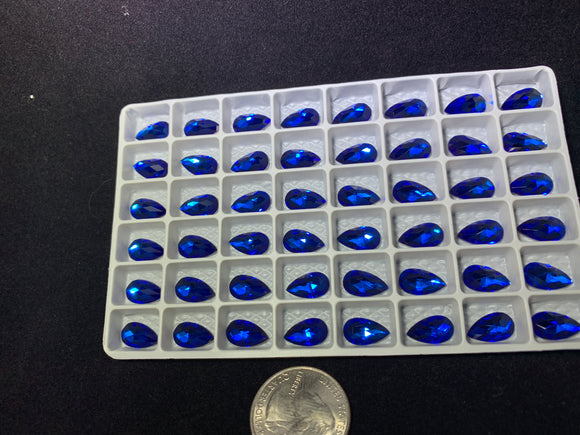 Capri Blue 12x7MM Flat Back Teardrop