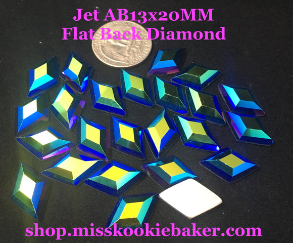 Jet AB 13x20MM Flat Back Diamond