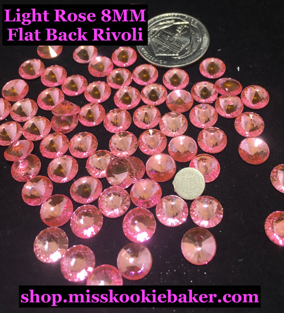 Light Rose 8 MM Flat Back Rivoli