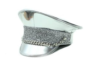 Silver Police Hat with Glitter Band and Chain