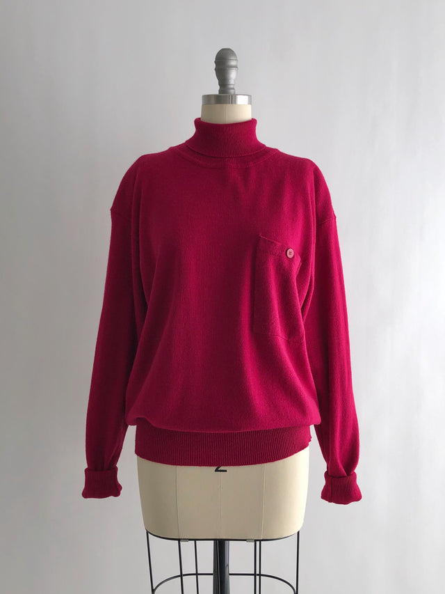 Vintage 80s Magenta Wool Blend Turtleneck Sweater by Jones New York