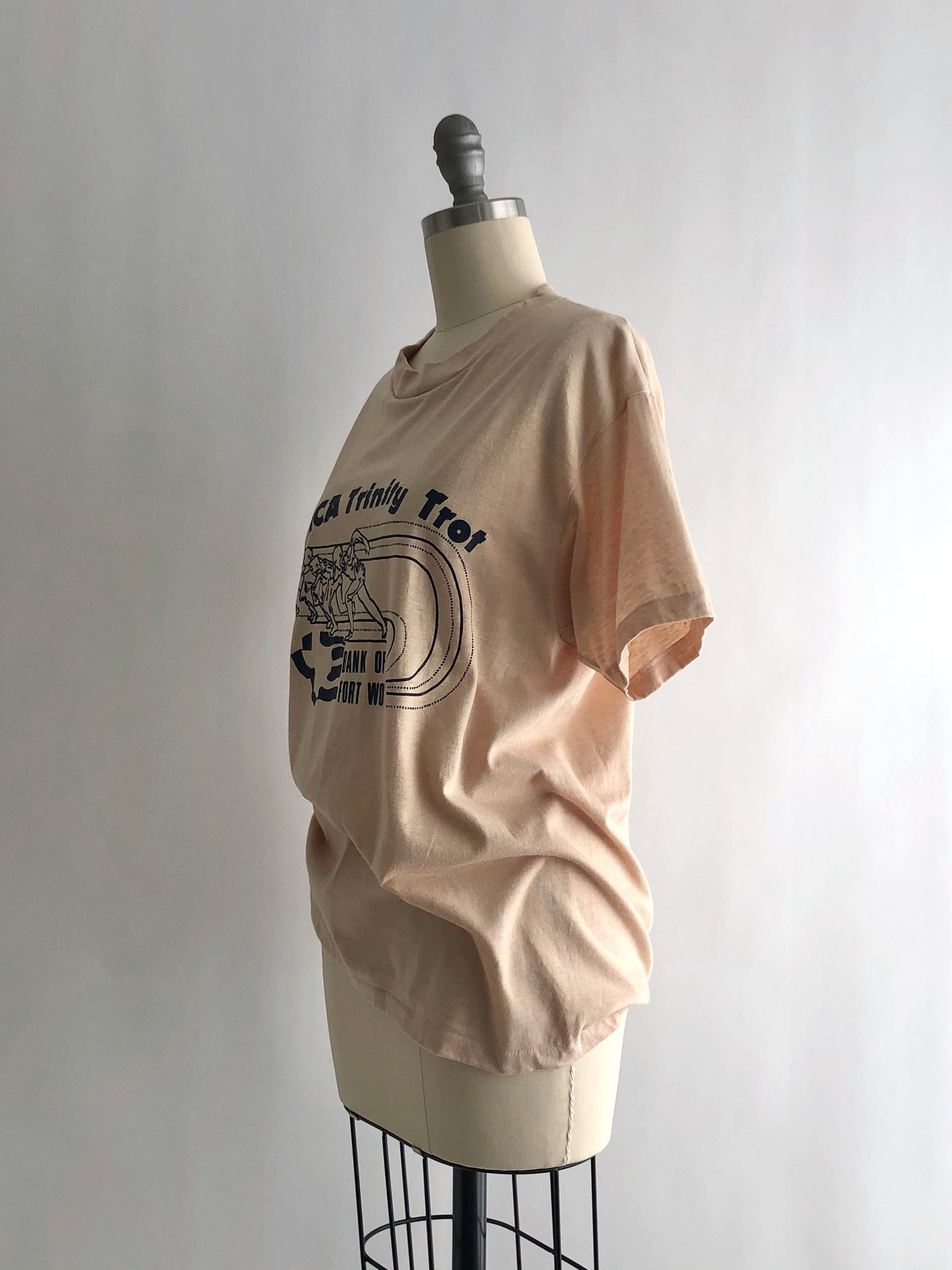 Vintage 80s Beige YMCA Trinity Trot Cotton Blend T-Shirt by Hanes Fifty-Fifty Combed