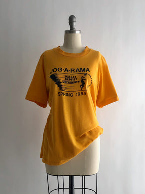 Vintage 80s Yellow Dallas Baptist University Cotton Blend Tee