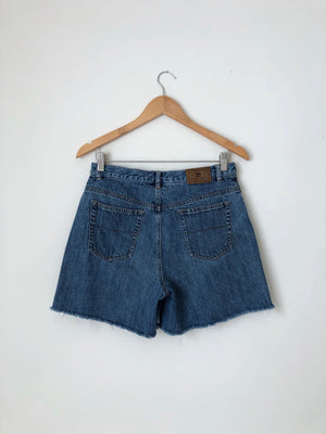 Women's Vintage Raw Hem Cotton Denim Shorts by Lauren Jeans Co. Ralph Lauren | 30.5 Inch Waist | Canary Club Vintage