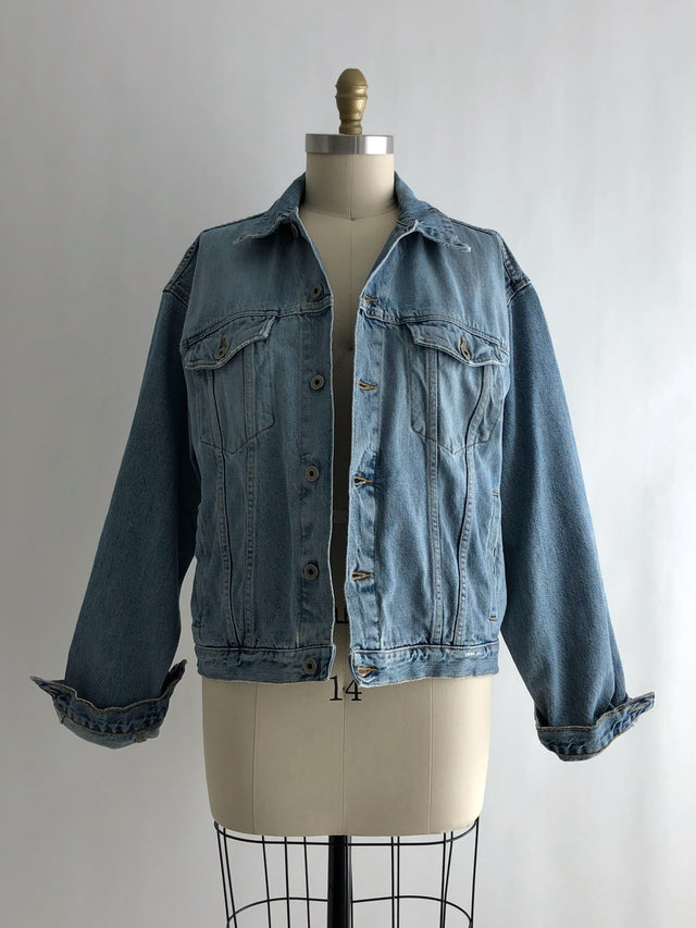 Vintage 90s Distressed Cotton Denim Jacket by Abercrombie & Fitch
