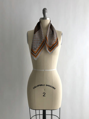 Vintage Gray and Brown Printed Silk Scarf by Anne Klein