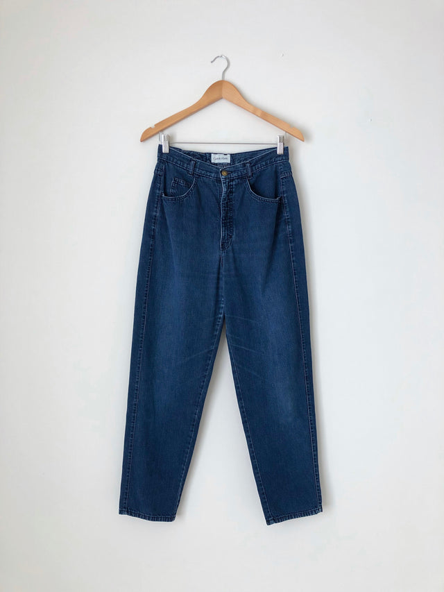 Women's Vintage Dark Cotton Denim Jeans by Calvin Klein | 29 Inch Waist | Canary Club Vintage