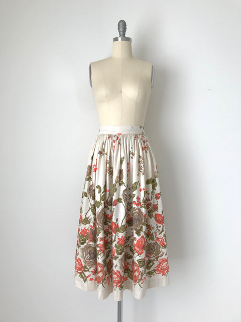 Women's Vintage 1950s Floral Print Handmade Cotton Skirt