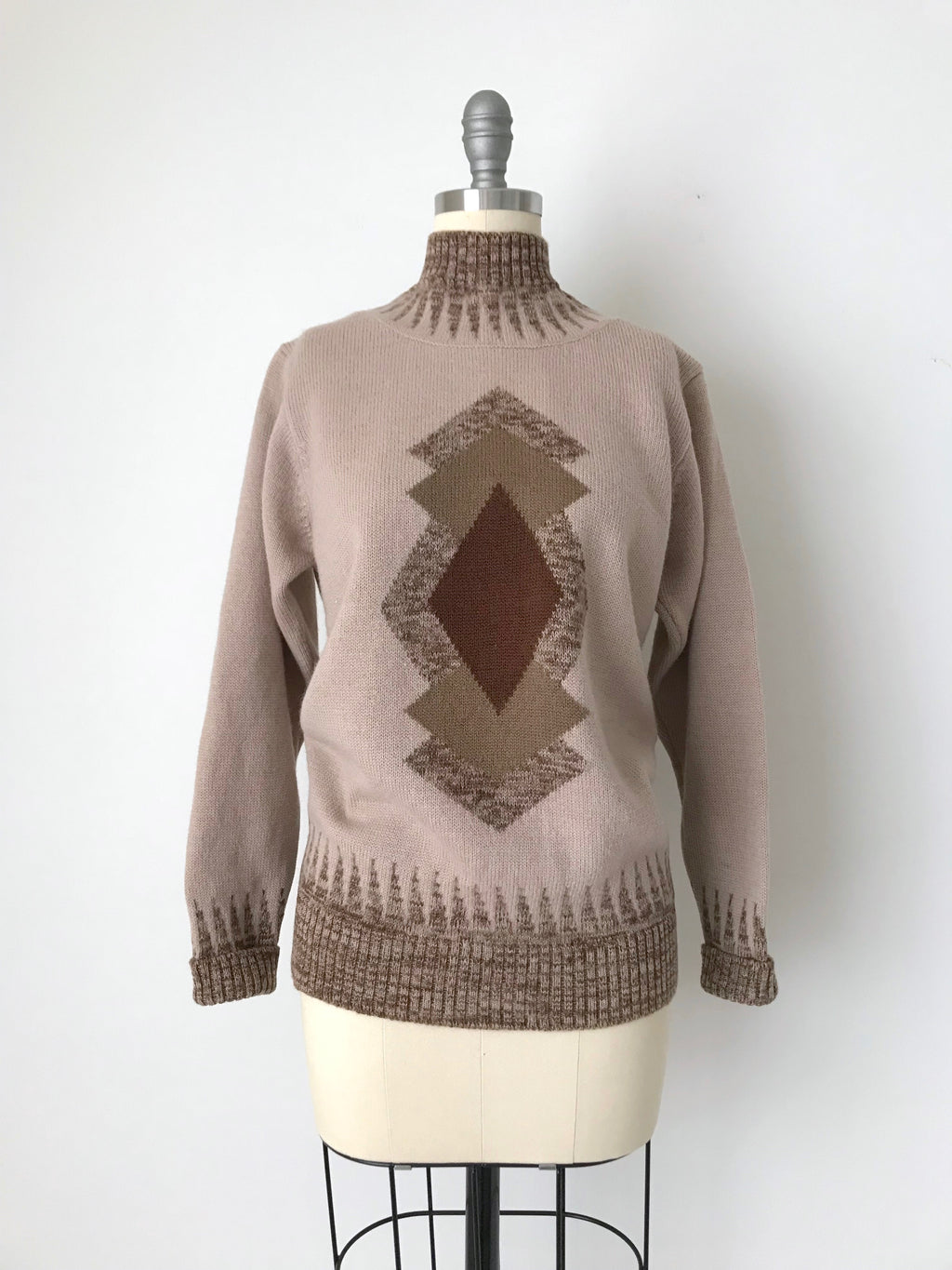 Women's Vintage Tan Wool Pullover Sweater by Yadie | Size Small | Canary Club Vintage
