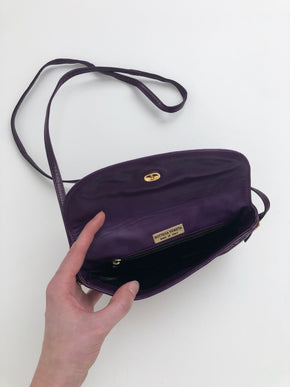 Vintage Bottega Veneta Purple Leather Crossbody Purse