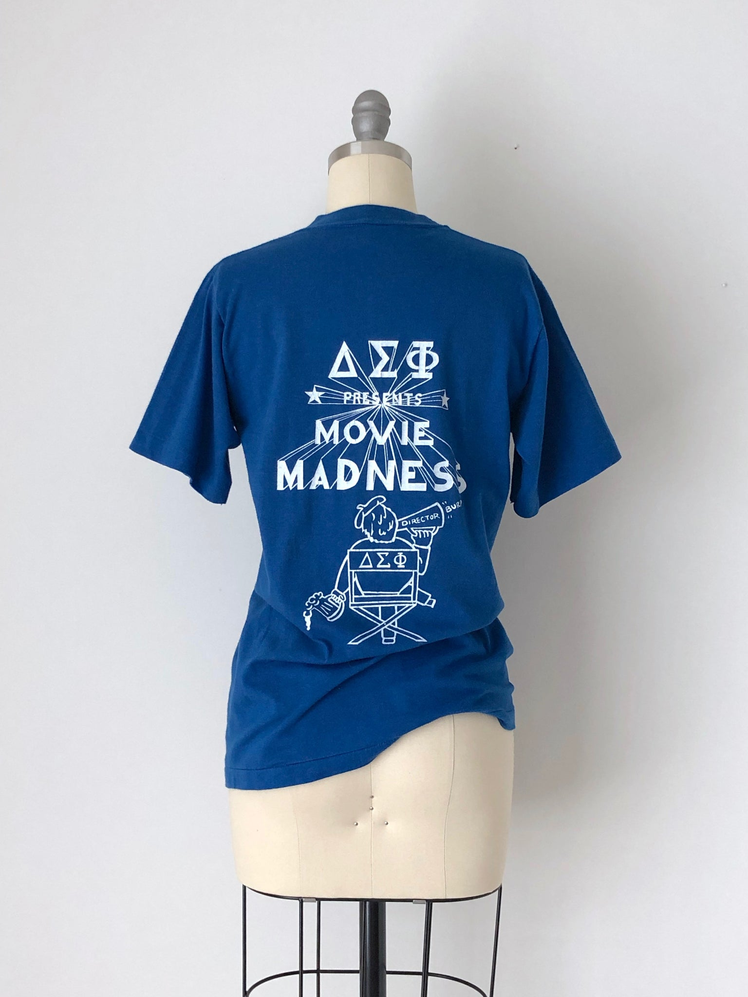 Vintage 1981 Delta Sigma Phi Fraternity Blue Cotton Blend T-Shirt by Sportswear