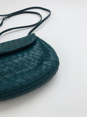 Vintage Bottega Veneta Green Leather Crossbody Purse