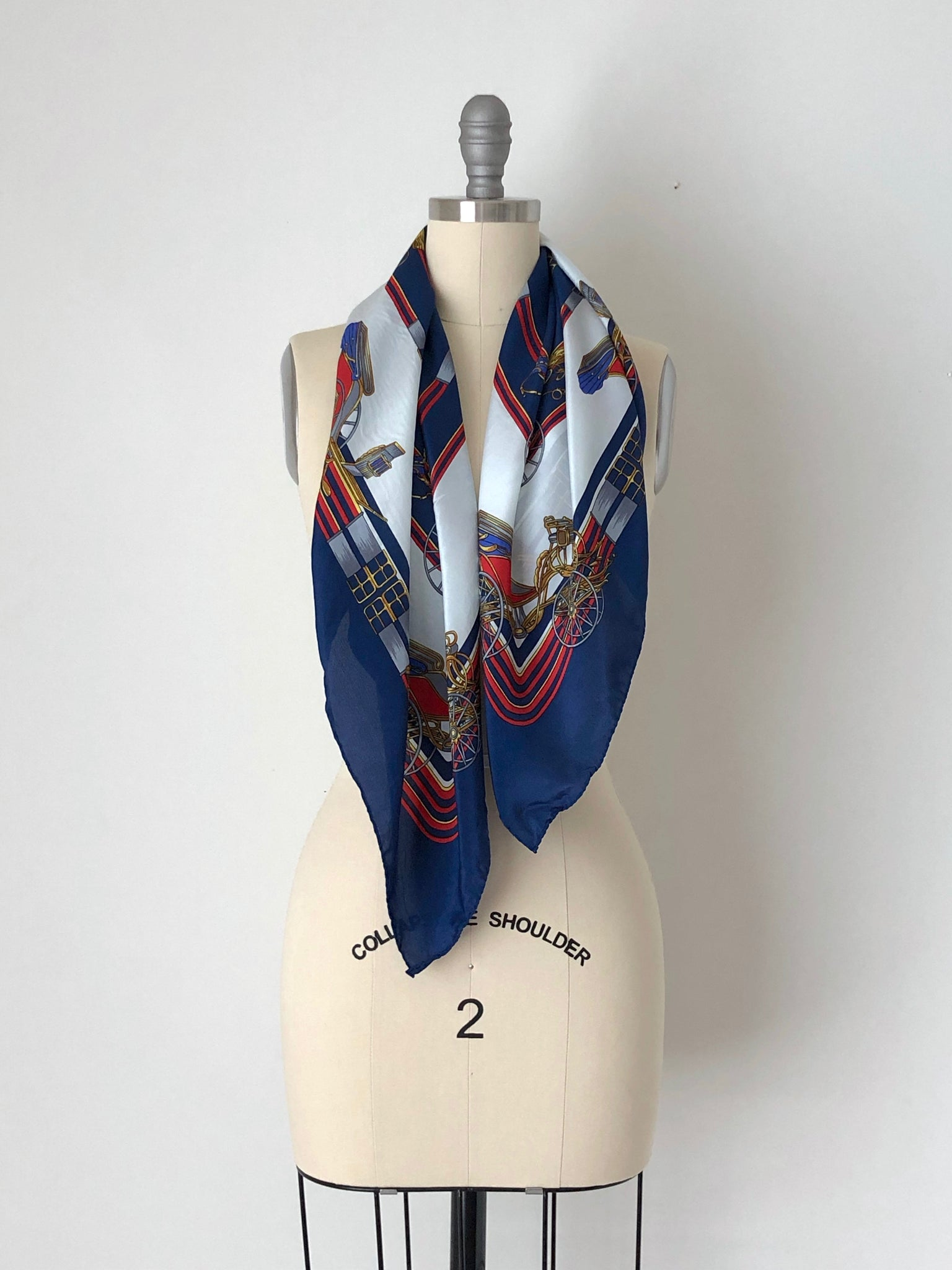 Vintage Blue and White Novelty Print Silk Scarf by FDS Italy