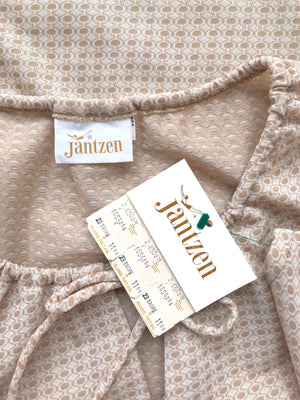 Women's Vintage 1970s NOS Taupe Polyester Bohemian Blouse by Jantzen