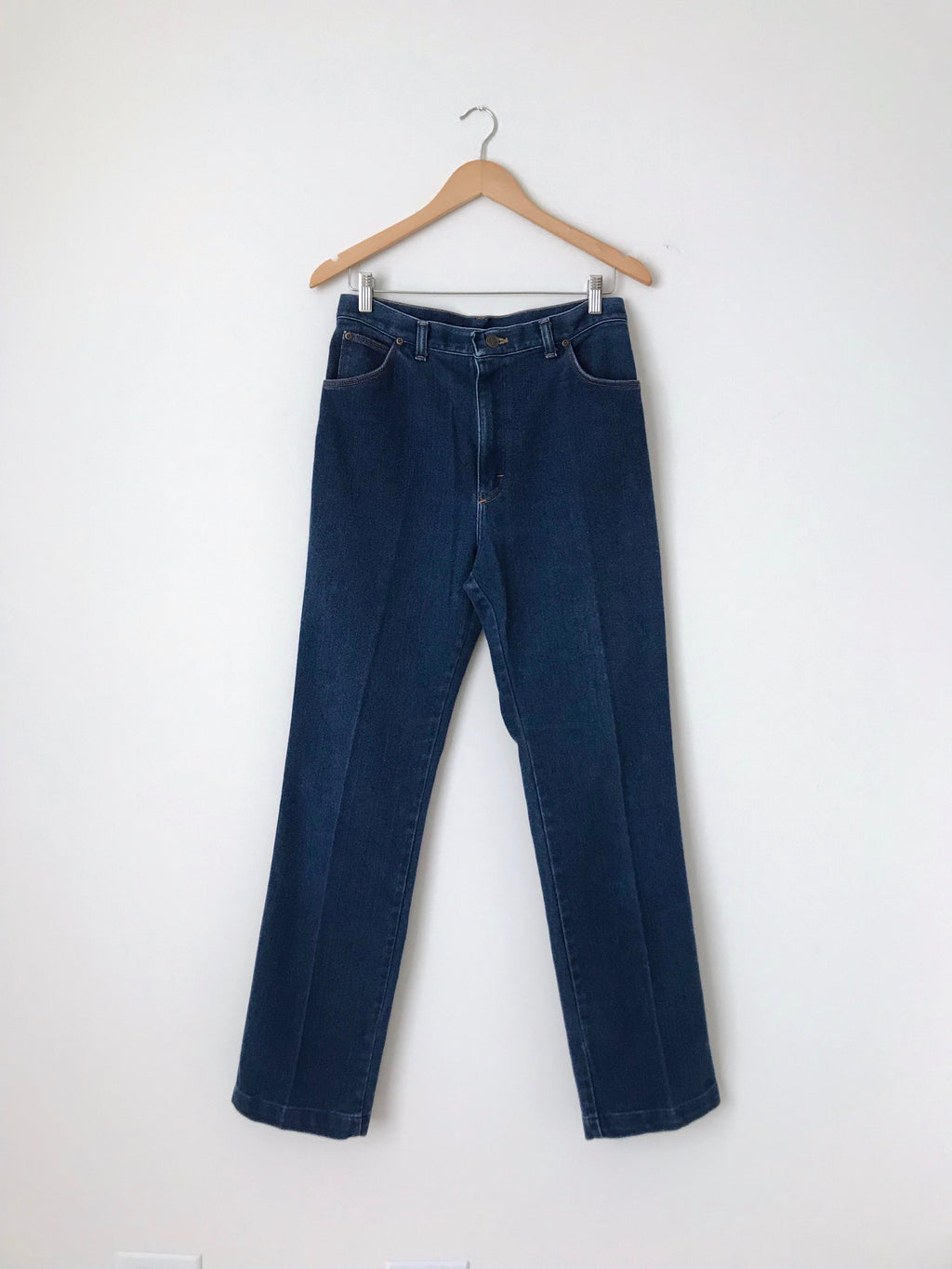 Women's Vintage 80s Dark Denim Western Jeans by Sheplers | 30.5 Inch Waist | Canary Club Vintage