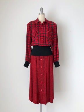 Women's Vintage 80s Printed Red Silk 2-Piece Dress by Julie Francis