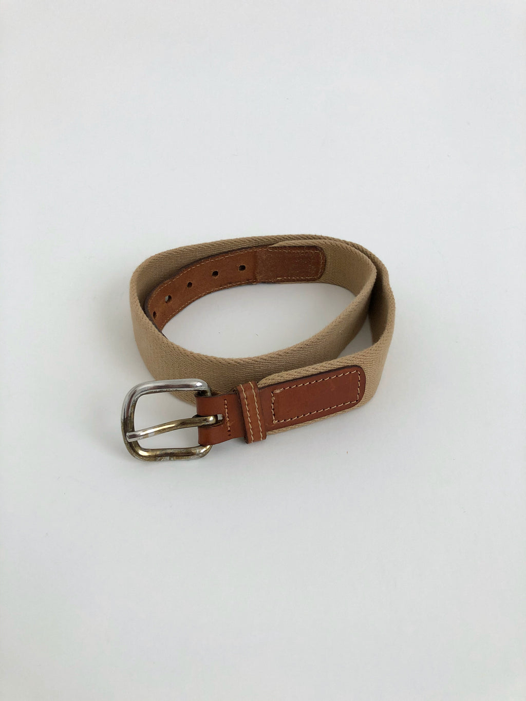 Vintage Brown Cotton and Leather Belt by The Gap