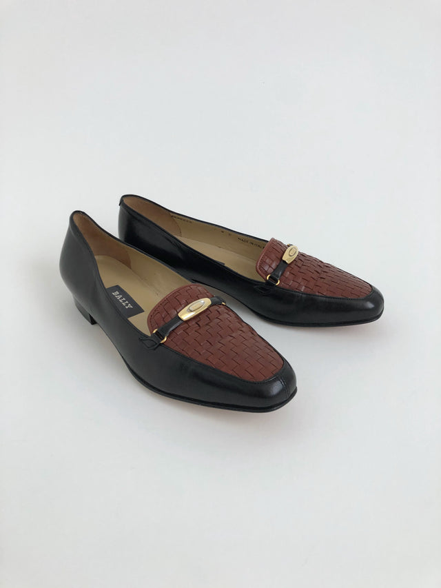 Vintage Black and Brown Vanessa Leather Loafers by Bally