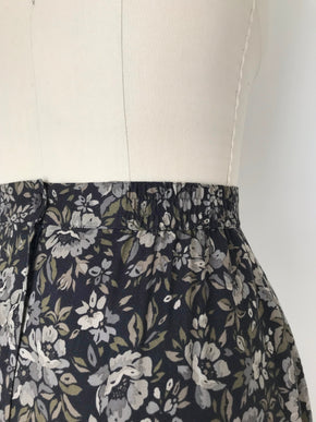 Women's Vintage 90s NOS Black Floral Rayon Midi Skirt by Bice | Size Large | Canary Club Vintage