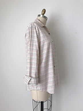 Women's Vintage Ivory Plaid Cotton Flannel Shirt by Evan-Picone | Size Large to Extra Large | Canary Club Vintage