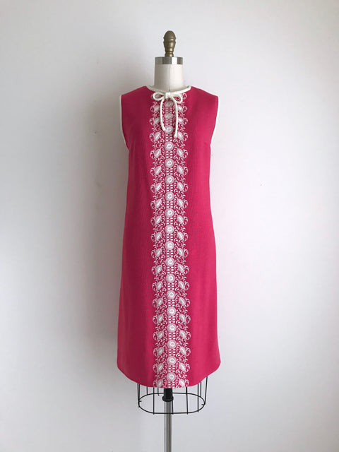 Women's Vintage 1960s Pink Embroidered Rayon Shift Dress by Stacy Ames