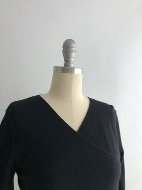 Vintage 90s Black Surplice Faux-Wrap Knit Top by Joan & David