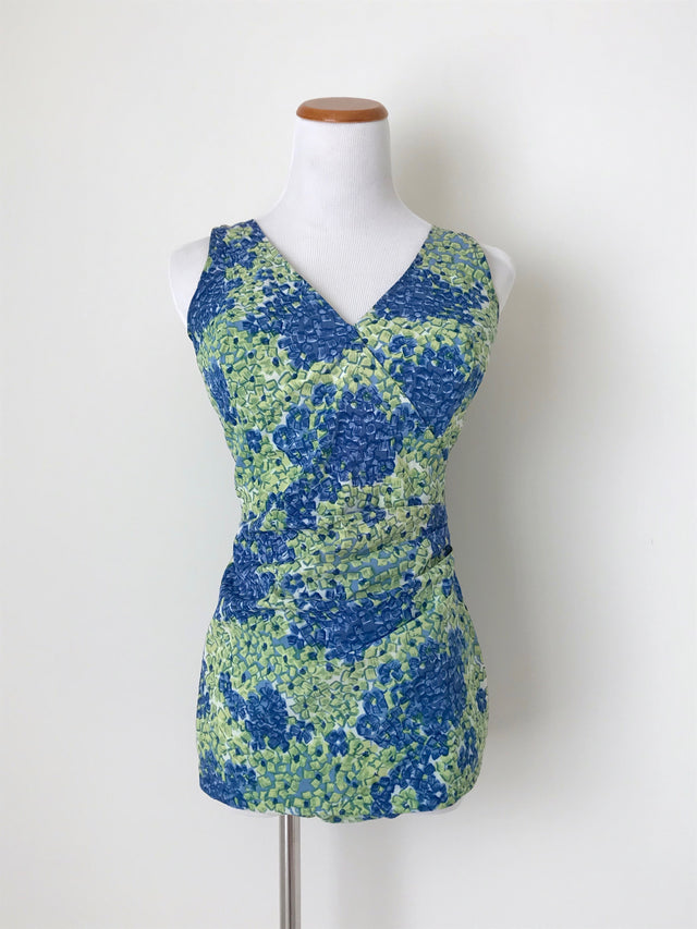 Women's Vintage 1960s Green and Blue Floral One Piece Swimsuit by Perfection Fit by Roxanne