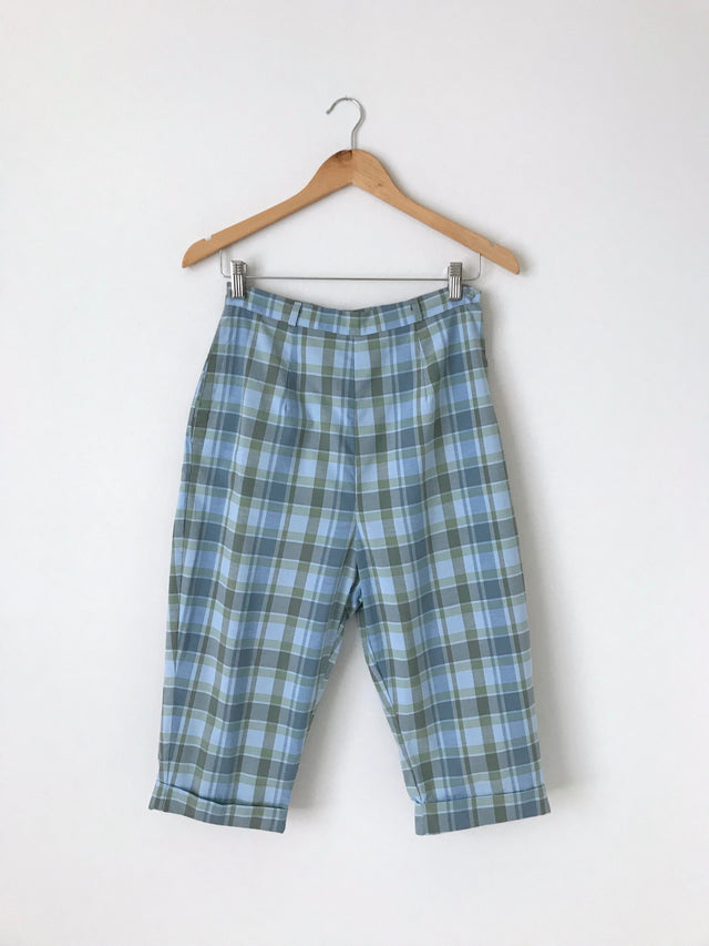 Women's Vintage 1960s Blue and Green Plaid Capri Pants by Carol Brent