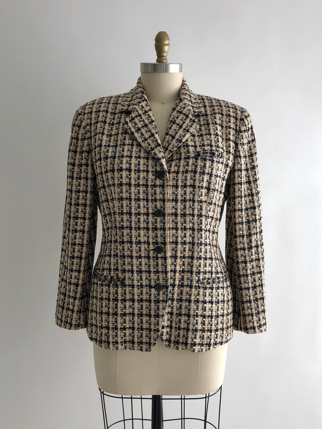 Vintage 80s Plaid Cotton and Wool Single Breasted Blazer by Anne Klein