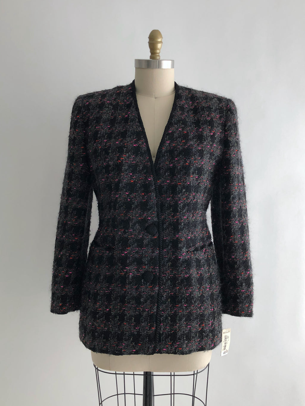 Vintage 80s NOS Black Wool Plaid Blazer by Dana Buchman