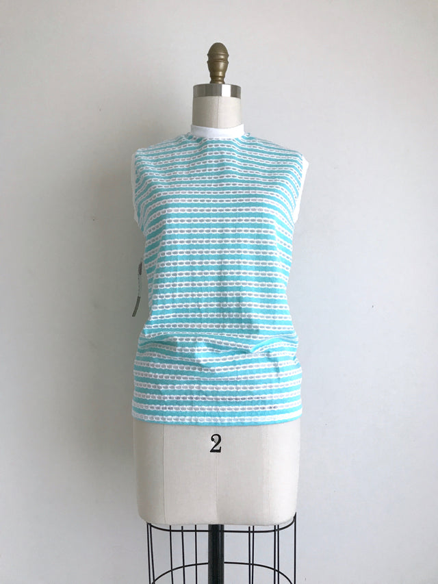 Women's Vintage 1960s NOS Teal Striped Sleeveless Cotton Top by Russ