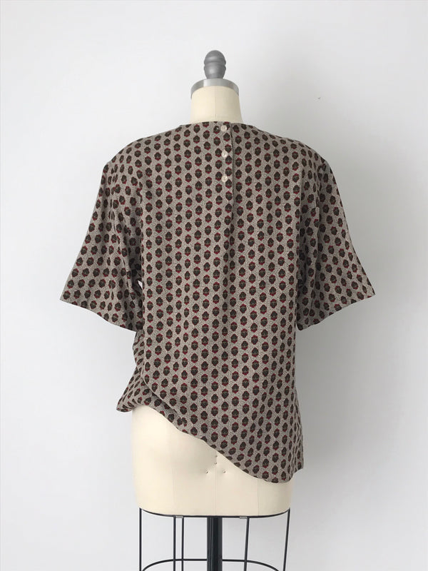 Women's Vintage Printed Beige Rayon Blouse by Sophisticates by Pendleton | Size Small to Medium | Canary Club Vintage
