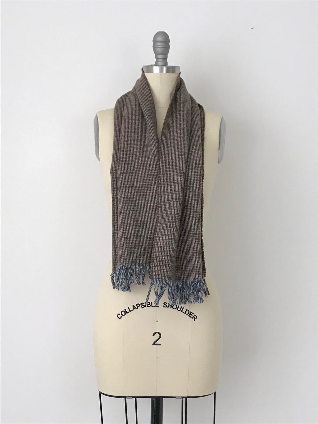 Women's Vintage Brown and Blue Wool Fringe Scarf by Pendleton | One Size | Canary Club Vintage