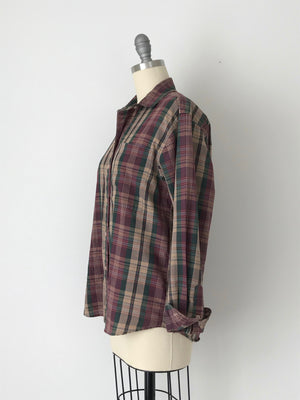 Women's Vintage 80s Plaid Collared Shirt by Diane von Furstenberg | Size Small | Canary Club Vintage