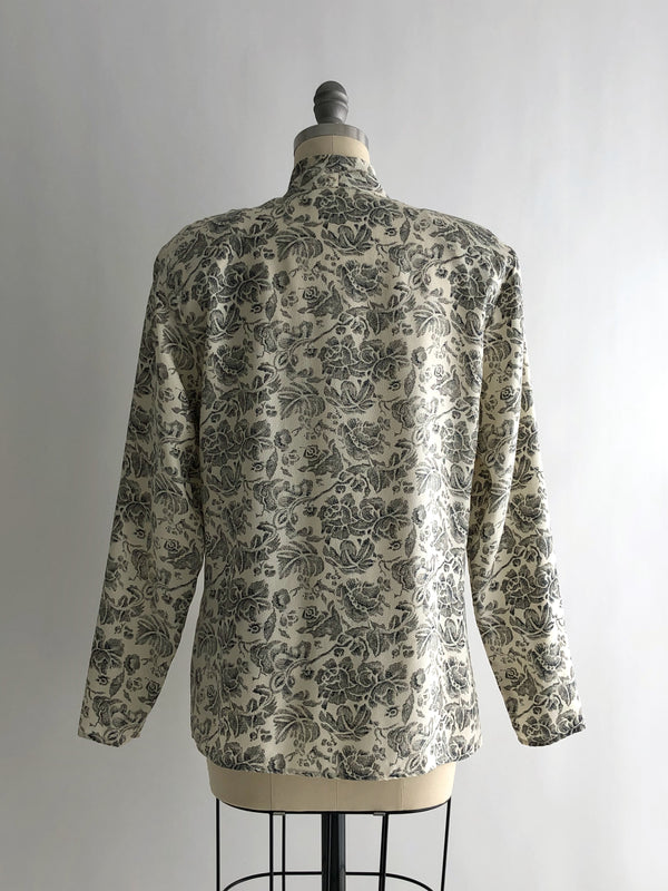 Vintage 90s Ivory and Gray Floral Print Silk Blouse by JH Collectibles