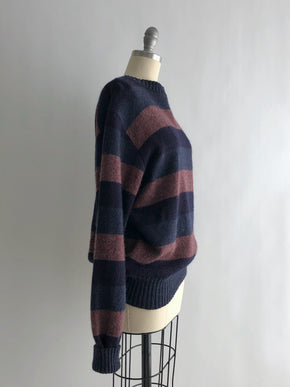 Vintage 80s Purple Striped Wool Pullover Sweater by Gap Clothing Co.