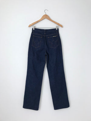Women's Vintage 70s Dark Cotton Denim Jeans by Sears JR Bazaar | 28.5 Inch Waist | Canary Club Vintage