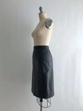 Vintage 80s Black Leather Pencil Skirt by G 3 Leather Fashions