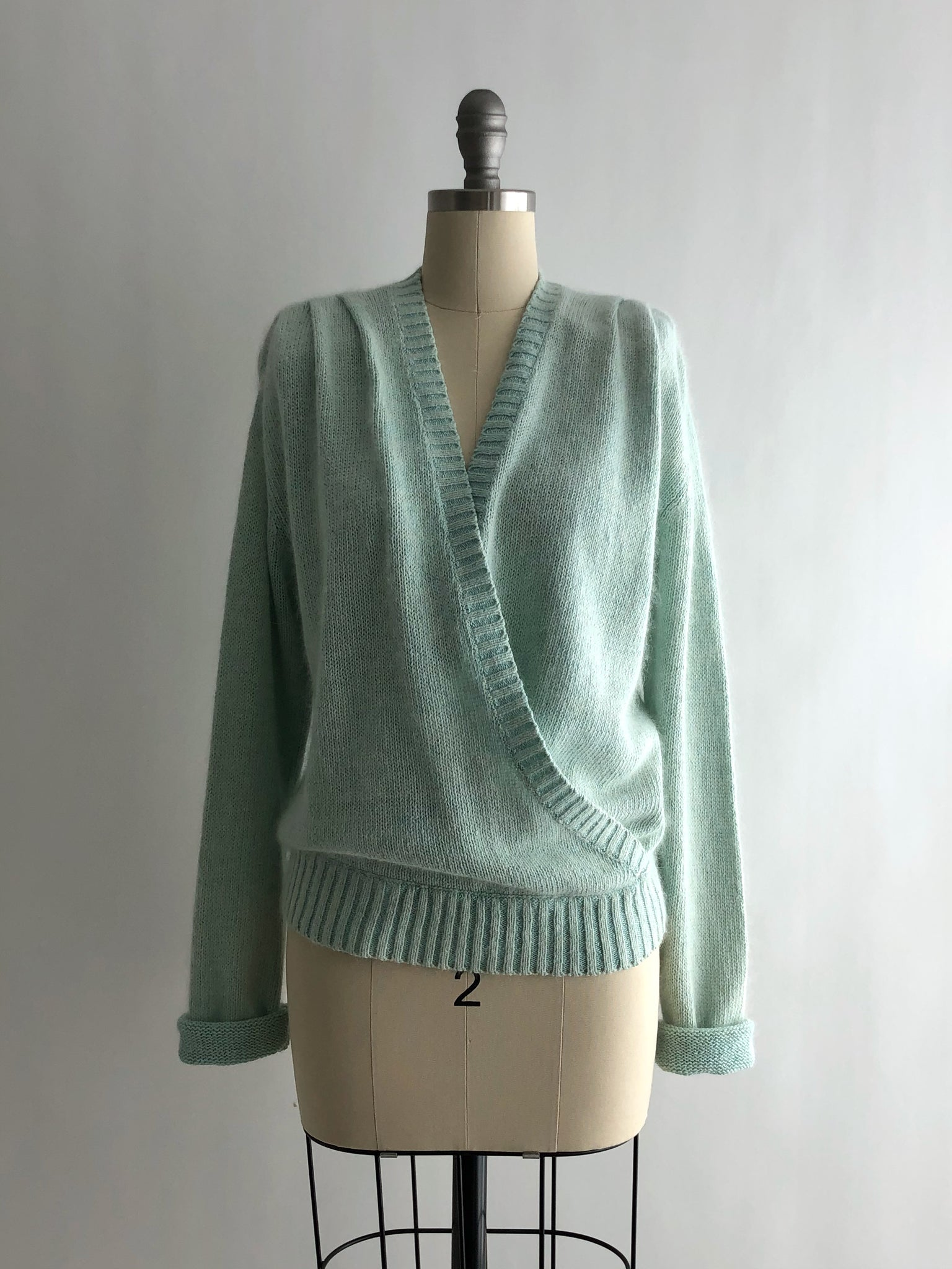 Vintage 80s Fuzzy Teal Wrap Style Silk Sweater by Lindsay Blair