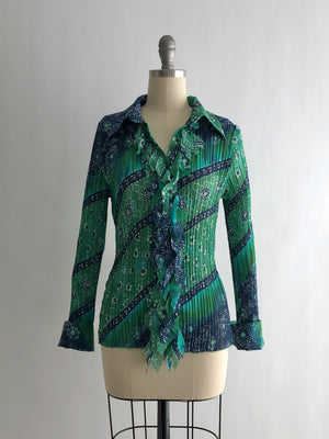 Vintage 90s Sheer Green and Blue Pleated Blouse by Robert Louis