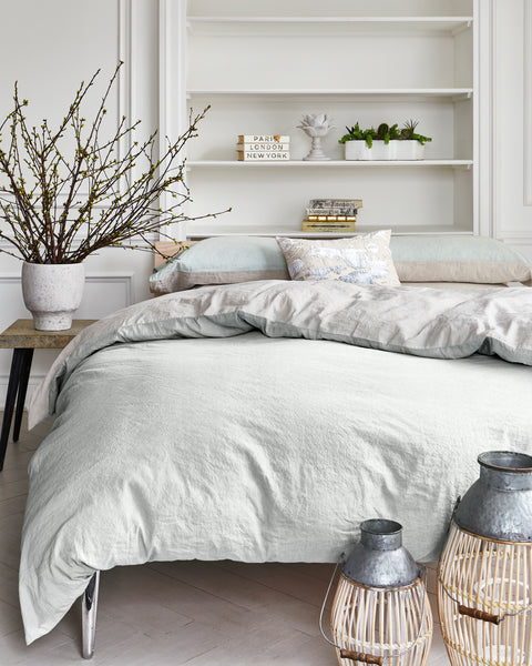 Neutral Duvet Cover on a bed
