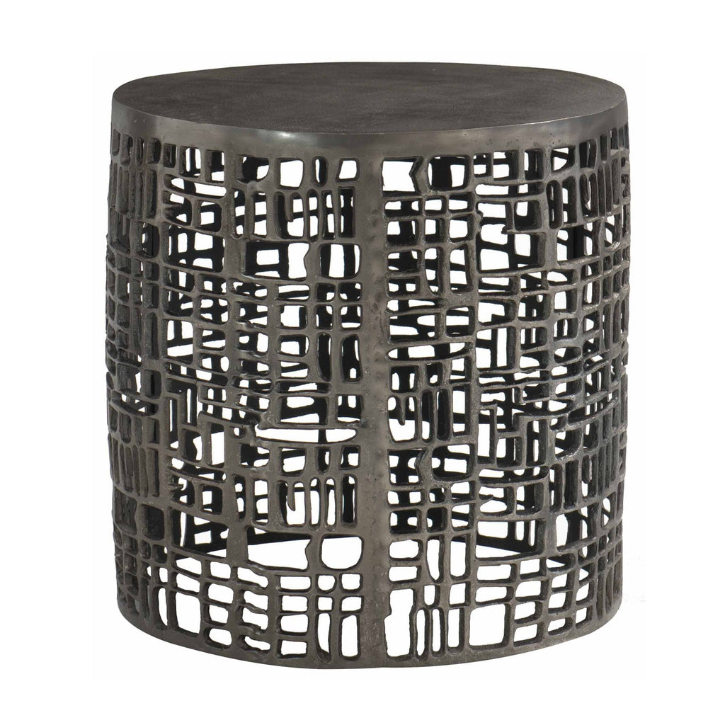 Side Table in Cast Aluminum in Graphite Finish with solid top and open geometric patterned sides