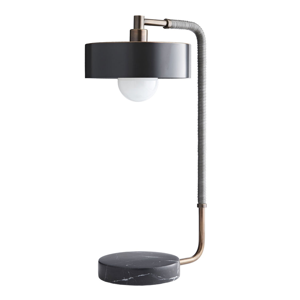 Table lamp in brass steel with a black marble base and bronze metal shade