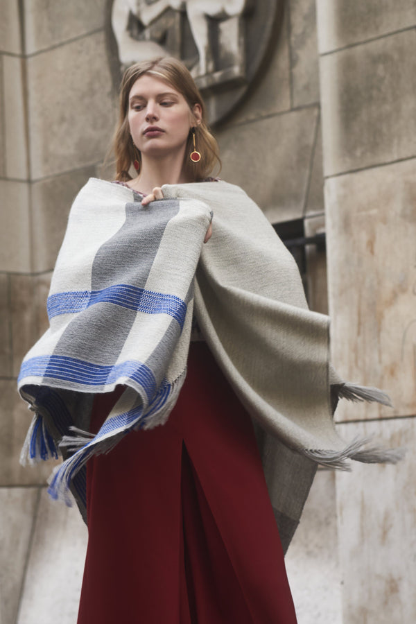Electric blue ruana Poncho