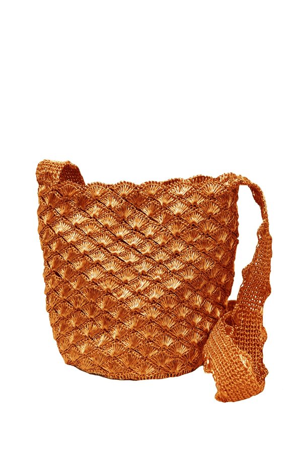Sea shell crochet copper bag