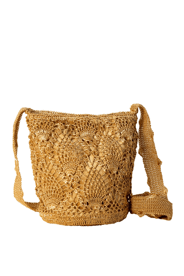 Pineapple crochet gold bag